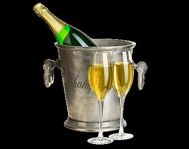 Champagne i kylhink med två glas