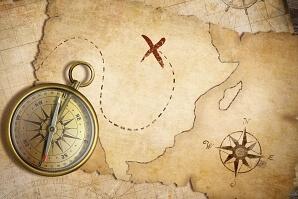 Skattkarta med kompass