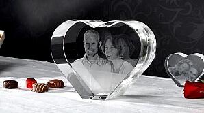 Tredimensionella fotografier i glas - hjärta