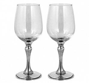 2 glas med tennfot