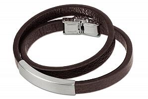 Brunt graverbart armband i läder