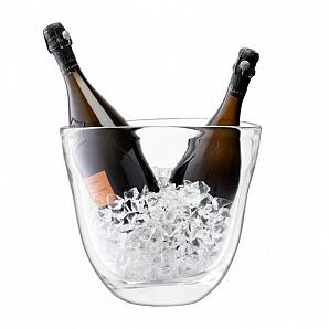 Handgjord champagnekylare i glas