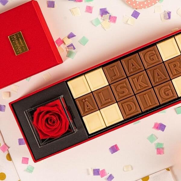 Personlig chokladask till pojkvännen