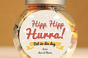Personlig godisburk för födelsedagen - hipp hipp hurra