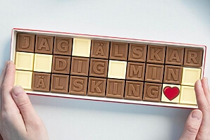 Personlig chokladask till flickvännen