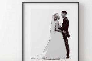 Bröllopstavla från eget fotografi