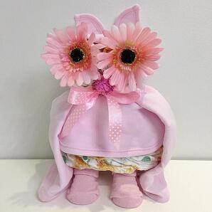 Blöjtårta rosa uggla