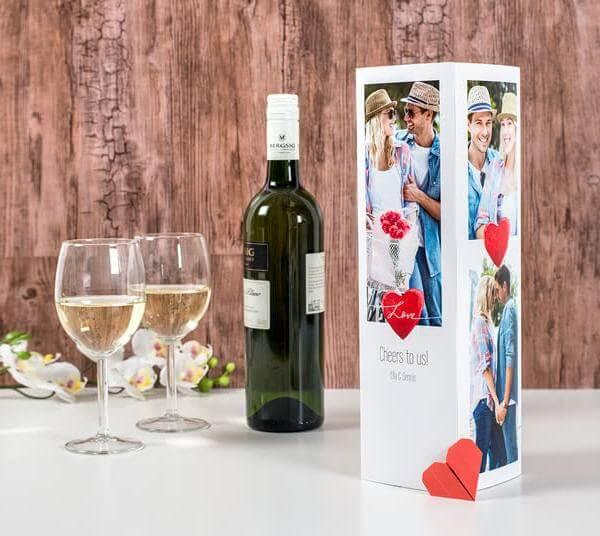 Egendesignad presentkartong för vinflaska vitt