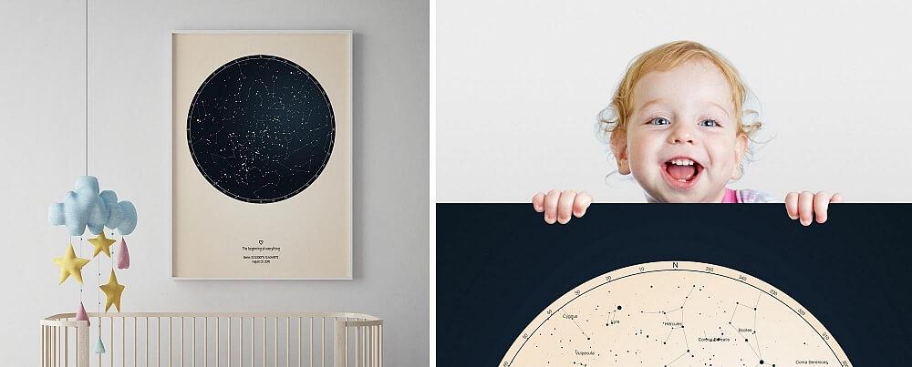 Doptavlor stjärnhimmel barnrum flicka